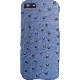 Book Type Flip case for Apple iPhone 5/5s/SE, Blue Ostrich faux leather