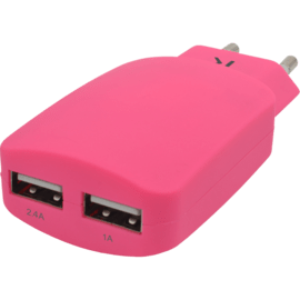 Universal Dual USB Charger (EU) 3.4A, Hot Pink