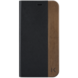 Flip Case for Apple iPhone XR, Black Saffiano & Natural Walnut Wood