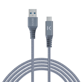 Fast Charge USB 3.1 GEN 2 Metallic braided USB-C to USB-A Charge/Sync cable (1M), Space Grey