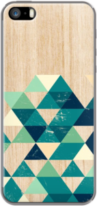 Case Teal Triangles on Wood Texture Geometric pattern by Madotta
