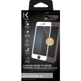 Curved Edge-to-Edge Tempered Glass Screen Protector for Apple iPhone 7/8, White