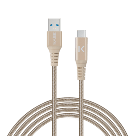 Fast Charge USB 3.1 GEN 2 Metallic braided USB-C to USB-A Charge/Sync cable (1M), Gold