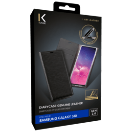 Diarycase 2.0 Genuine Leather flip case with magnetic stand for Samsung Galaxy S10, Midnight Black