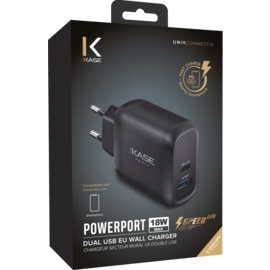 Universal PowerPort Speed LITE Quick Charge 18W Dual USB EU Wall Charger, Black
