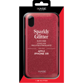 Coque slim pailletée étincelante pour Apple iPhone XR, Rouge