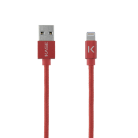 Case Apple MFi certified Metallic braided Lightning to USB Charge/Sync cable (1M), Red