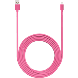 Fast Charge 2.4A max Apple MFi certified lightning charge/ sync cable (3M), Hot pink