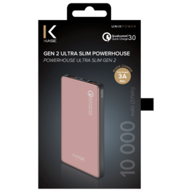 GEN 2 Ultra Slim PowerHouse External Battery 10 000mAh (37Wh), Rose Gold