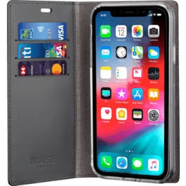Diarycase 2.0 Genuine Leather flip case with magnetic stand for Apple iPhone XR, Midnight Black