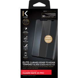 Elite Curved Edge-to-Edge Tempered Glass Screen Protector for Huawei Mate 20 Pro, Black
