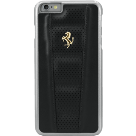 Case Ferrari Perforated Coque cuir veritable pour Apple iPhone 6 Plus/6s Plus, Noir, Cheval doré
