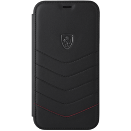 Ferrari Quilted Genuine Leather Flip Case for Apple iPhone XR, Black