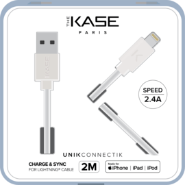 Câble Lightning certifié MFi Apple Charge Speed 2.4A charge/ sync (2M), Blanc Lumineux
