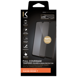 Full Coverage Tempered Glass Screen Protector for Xiaomi Redmi 7, Black