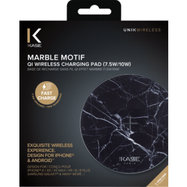 Marble Motif Qi Fast Charge Wireless Charging Pad 7.5W/ 10W, Midnight Black