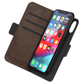 Robust 2-in-1 Magnetic Wallet & Case for Apple iPhone X/XS, Taupe Brown
