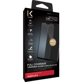 Full Coverage Tempered Glass Screen Protector for OnePlus 6, Black