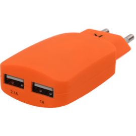 Universal Dual USB Charger (EU) 3.1A, Vibrant Orange