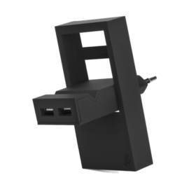 ROCK Black - Pocket charger / 2 USB ports including phone stand