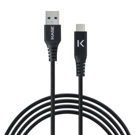 Fast Charge USB 3.1 GEN 2 Metallic braided USB-C to USB-A Charge/Sync cable (1M), Black