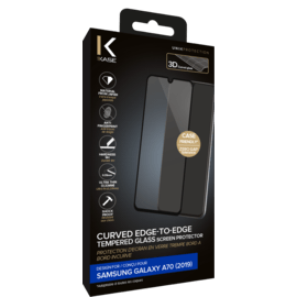 Curved Edge-to-Edge Tempered Glass Screen Protector for Samsung Galaxy A70 2019, Black