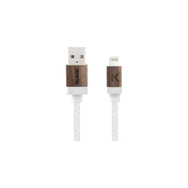 Case Genuine Leather Walnut Wood Apple MFi certified Lightning Charge/Sync Cable (0.3M) White