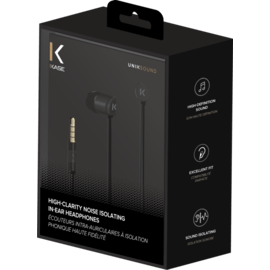 High-Clarity Noise Isolating In-Ear Headphones, Black
