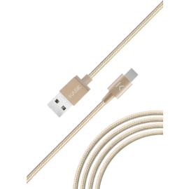 Metallic braided USB-C to USB-A Charge/Sync Cable (1M), Gold