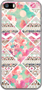 Case Pink Floral Aztec Watercolor Checker Pattern by Girly Trend