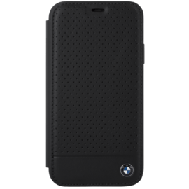 Custodia a flip in vera pelle traforata BMW per Apple iPhone XR, nera