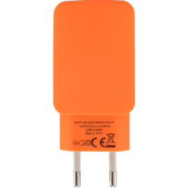 Chargeur Universel Double USB (EU) 3.1A, Orange Vif