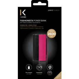 Fashionista Power Bank, 2600 mAh, Lizard Pink
