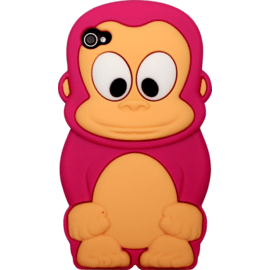 Case for Apple iPhone 4/4S, Pink Monkey silicone