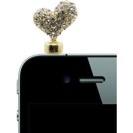 Case Jewel Jack Plug, Diamond heart, Champagne