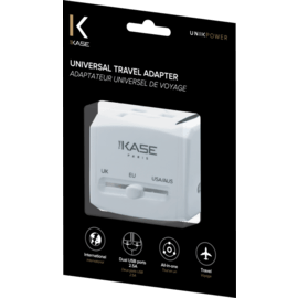 Universal Travel Adapter, White Glacier