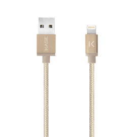 Case Apple MFi certified Metallic braided Lightning to USB Charge/Sync cable (1M), Gold